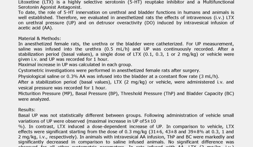 Abstract 1/2 EAU 2017 – Effects of litoxetine on urethral pressure
